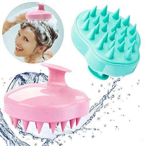 2 Stücke Kopfhaut Massage Bürste, Kopfmassage [Nass & Trocken] Kopfmassagegerät, Silikon Shampoo Haarbürste Reinigt Haarwurzeln, Peeling und Schuppen, Fördert das Haarwachstum- Rosa Grün