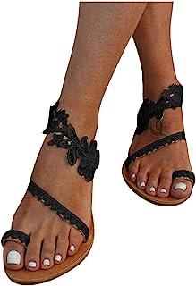 comprar comparacion ZARLLE Sandalias Mujeres Moda Verano Plano Talla Grande Bohemia Clip Toe Dulce con Cuentas Sandalias Casuales Zapatos De P...
