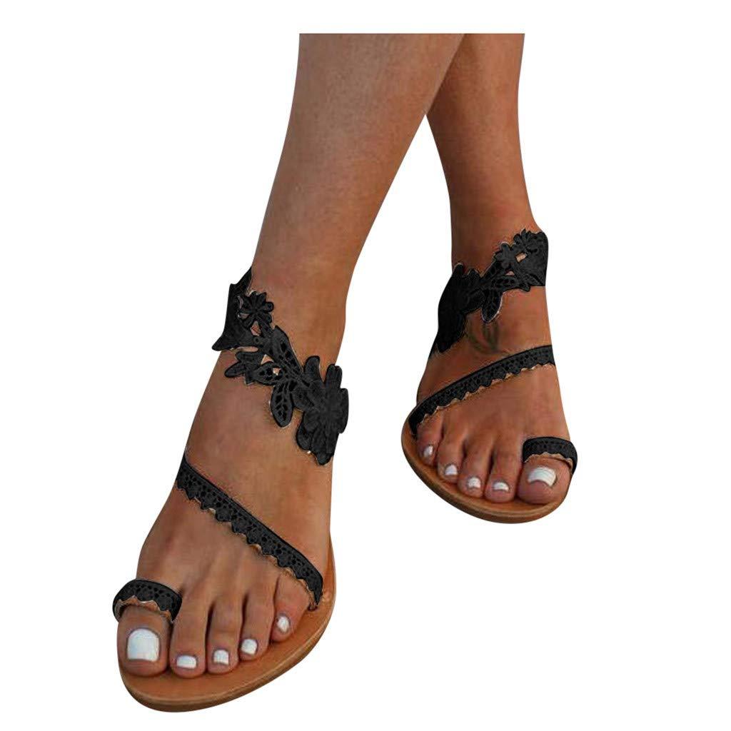 Kledbying Women's Summer Casual Wear Beach Shoes Roman Flat Sandals Flower Beach Non-slip Flat Bottom Sandals