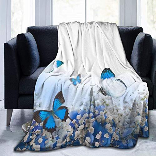 AEMAPE Manta de Tiro Azul Claro con hortensias y Mariposas, Manta Suave y cálida para Cama, Ropa de Cama, sofá, Oficina, Sala de Estar