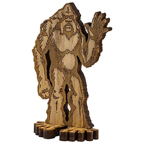 "BMBM 7.25"" Standing Waving Sasquatch Bigfoot Laser Cut Statue Decoration for Desk, Table, Shelf | Stained Solid Premium 1/2' Radiata Pine Construction"