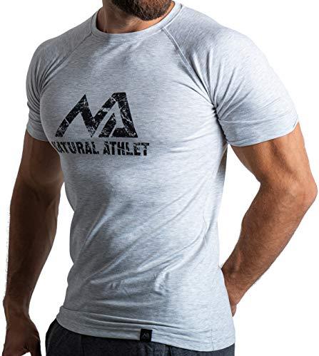 Herren Fitness T-Shirt meliert - Männer Kurzarm Shirt für Gym & Training - Passform Slim-Fit, lang mit Rundhals, Hellgrau, M