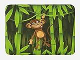 Ambesonne Alfombra de baño con diseño de la selva, ilustración de un mono en el bosque, de felpa con respaldo...