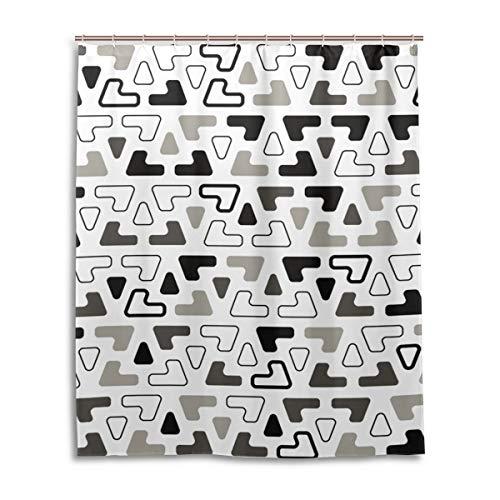 JSTEL Decor Rideau de Douche 100% Polyester Motif Floral Noir/Blanc 152 x 183 cm