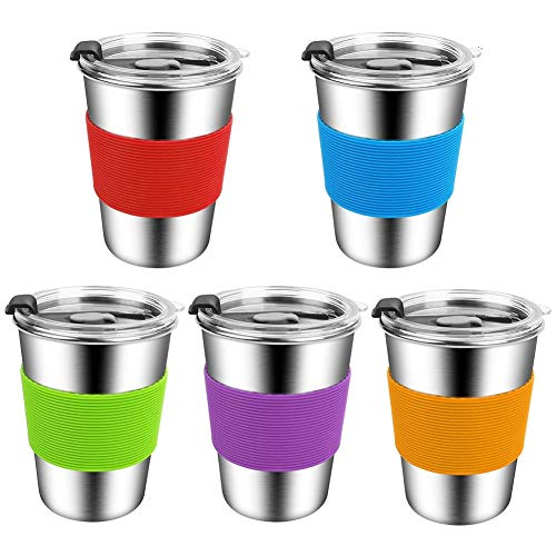 Stainless Steel Kids Cups with Lids,12oz Spill Proof Kids Tumbler with Lids,Stainless Steel Kids Smoothie Cups with Lids,Leak Proof Toddler Sippy Cups with Lids for Kids and Adults