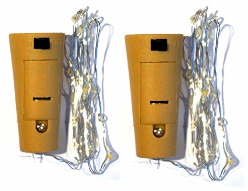 2x Flaschenkorken mit 8er Mikro LED Lichterkette Flaschenlicht Batteriebetrieb