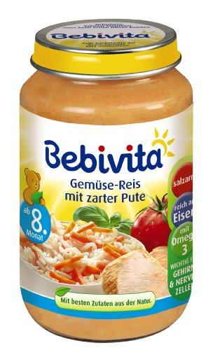 Bebivita Gemüse-Reis mit zarter Pute, 6er Pack (6 x 220 g)