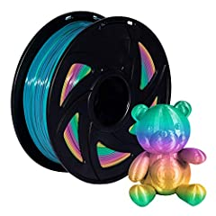 【PLA】Polylactic Acid 3D Printer Filament approximately 2.2 LBS 1 KG Spools 1.75mm, Filament Diameter (Dimensional Accuracy +/- 0.02mm), Recommended Extrusion/Nozzle Temperature 180°C - 240°C (356°F - 464°F) 【Rainbow & Multicolor PLA】This type rainbow...