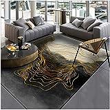 LEELFD Moderno Abstracto Nuevo Chino Tinta Negra línea de Oro Alfombra de la Puerta alfombras de Dormitorio alfombras para Dormitorio Alfombra niños habitación Cocina Estera