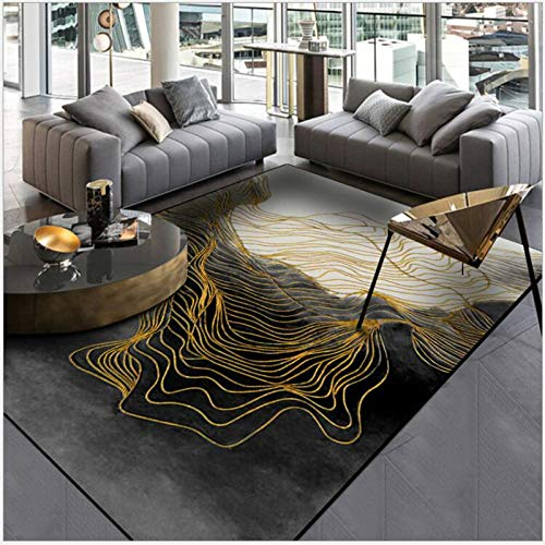 LEELFD Moderno Abstracto Nuevo Chino Tinta Negra línea de Oro Alfombra de...