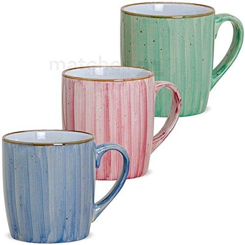matches21 Tassen Becher Kaffeebecher Kaffeetassen Dekor blau pink grün aus Keramik 3er Set je 9 cm / 312 ml