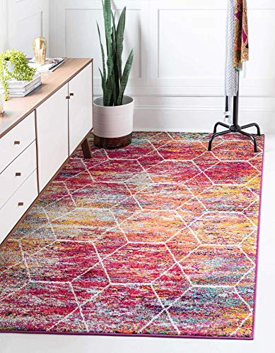 Unique Loom Trellis Frieze Collection Lattice Moroccan Geometric Modern Area Rug_TRF002, 5 x 8 Feet, Multi/Fuschia