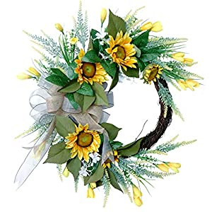 Artificial Sunflower Wreath for Front Door Yellow Sunflower Silk Flower Wreath with Bow Decorative Summer Spring Wreath for Home Party Wedding Decoration