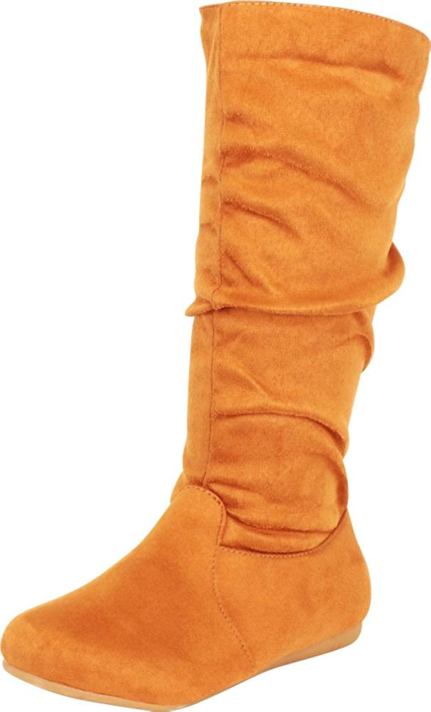 Cambridge Select Women's Classic Round Toe Slouchy Mid-Calf Flat Boot