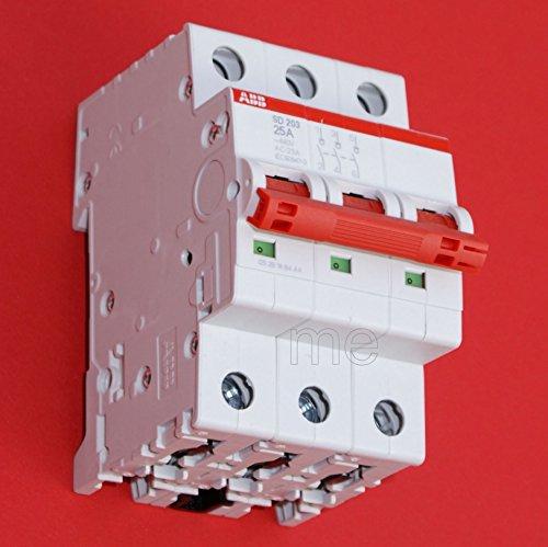 ABB SD203/25 Hauptschalter Lasttrennschalter Schalter 3-polig 25A rot