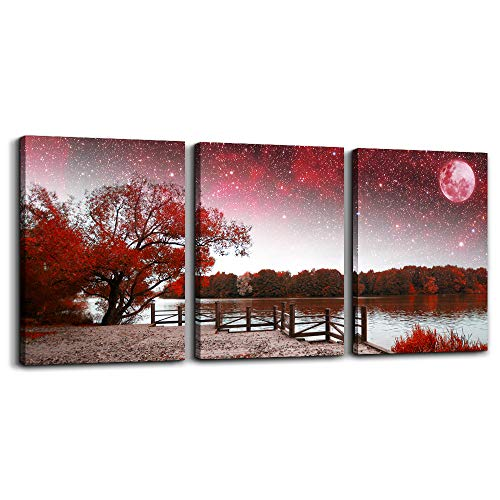 Wall Art for living room Canvas Prints bedroom Wall Decor for bathroom artwork Abstract Painting Red tree moon landscape paintings 16