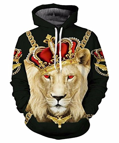 Your Love Hipster Long Sleeve Lion King Pattern Hoodie Pullover Hip Hop Sweatshirt Hooded Hoody Men's Clothing Tracksuits