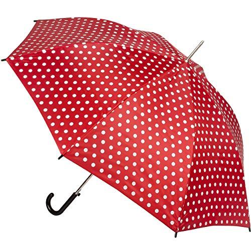 alles-meine.de GmbH Automatik - großer - Regenschirm - Punkte - rot & weiß - Ø 104 cm - für Erwachsene & Kinder - Stockschirm - groß mit Griff - Automatikregenschirm - Einklemmsc..