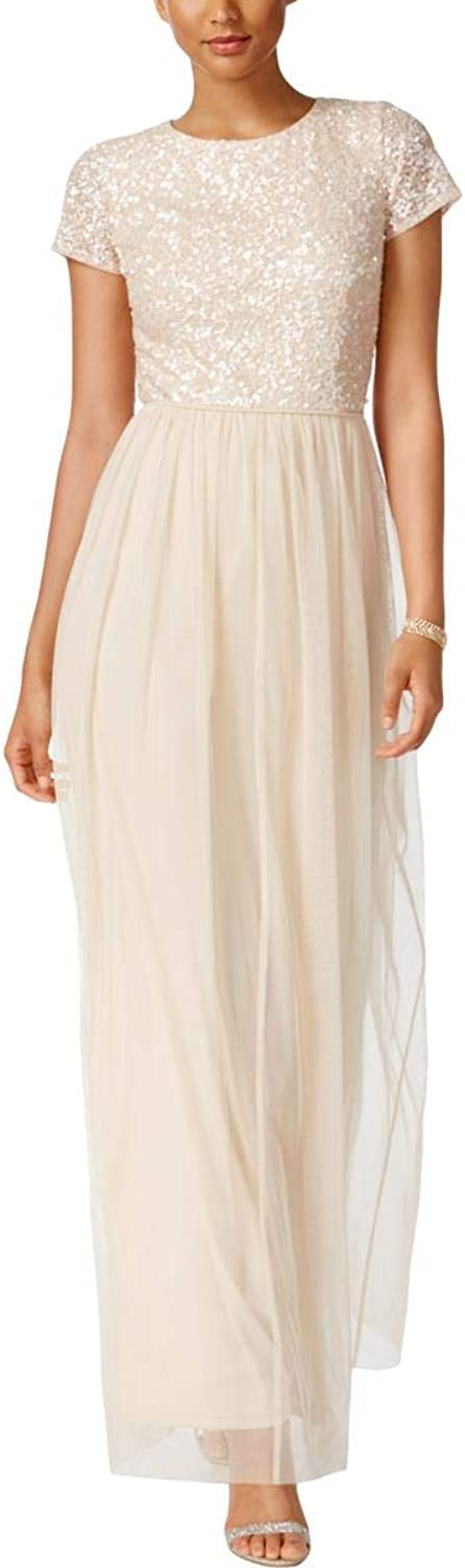 Adrianna Papell Womens Tulle Sequined Special Occasion Dress