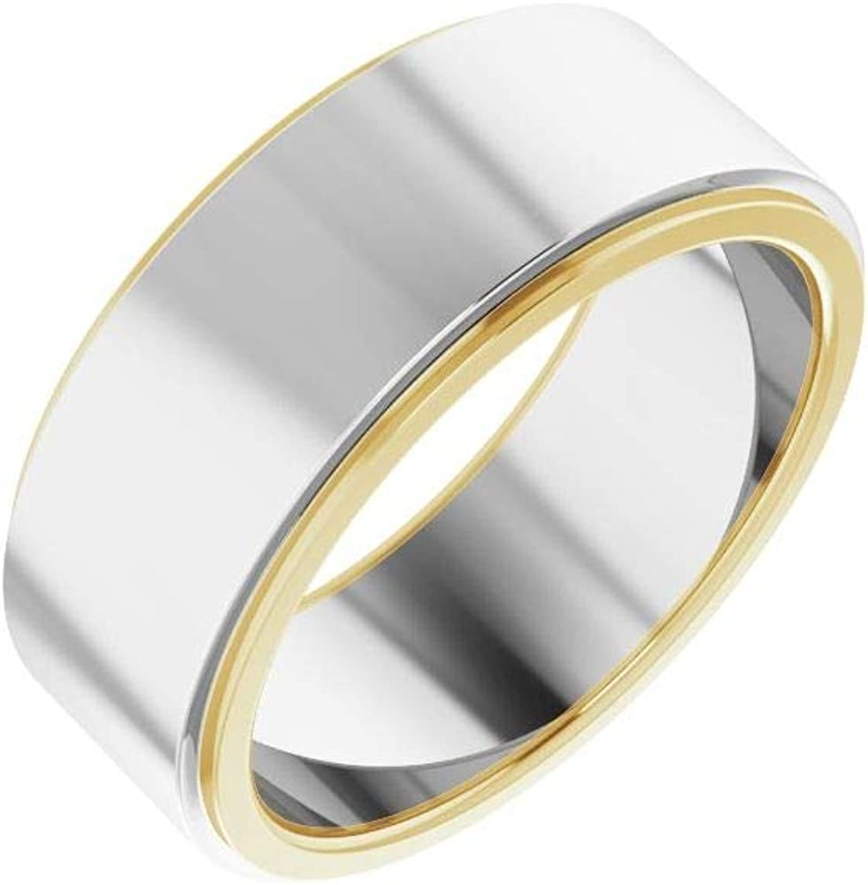 Solid 14k White and Yellow Free shipping anywhere in the nation Gold Flat Same day shipping Wedding Edge 7.5mm Two Tone