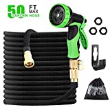 6. Expandable Garden Hose with 9 Function Nozzle, Leak-proof Lightweight Retractable Hose 50ft with Solid Brass Fittings,Extra Strength Double Latex Core Durable Garden Hose