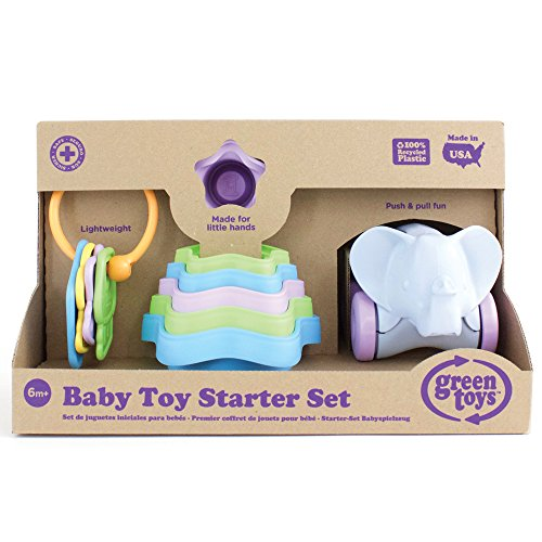 Green Toys Baby Toy Starter Set, First Keys/Stacking Cups/Elephant - 8 Piece Motor Skill Development Kids Toy. Safe for Babies and Toddlers. No BPA, phthalates, PVC. Dishwasher Safe, Recycled Plastic, Made in USA.