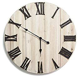 Stratton Home Décor S11574 White Wall Clock, 28.00 W X 1.75 D X 28.00 H, Antique Bronze, Distressed whitewashed Wood