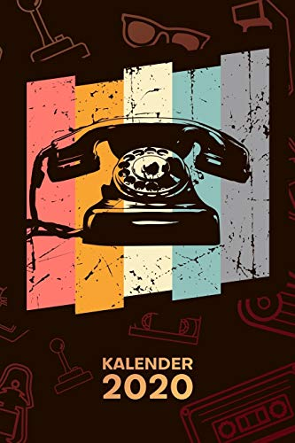 KALENDER 2020: A5 Vintage Terminplaner für 80er Party mit DATUM - 52 Kalenderwochen für Termine & To-Do Listen - Vintage Telefon Terminkalender Retro Telefon Jahreskalender 80er Jahre