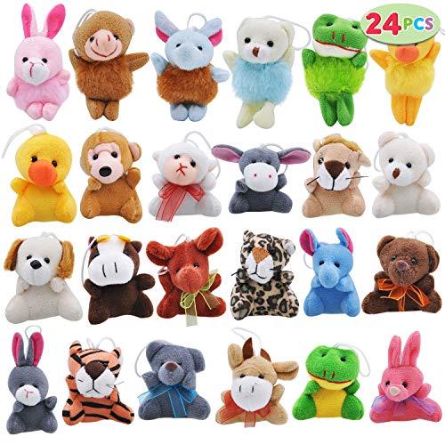 Joyin Toy 24 Pack Mini Animal Plush Toy Assortment (24 units 3  each) Kids Valentine Gift Easter Egg Filter Party Favors