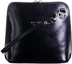 Primo Sacchi Ladies Italian Leather Black Small Micro Cross Body Shoulder Bag Handbag Purse