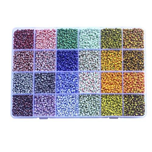 FOCCTS 9600 Stück Mini Glasperlen 3mm 24 Farben DIY Armband Art Lose Perlen Distanzperlen mit 24-Gitter Aufbewahrungsbox für Schmuckherstellung