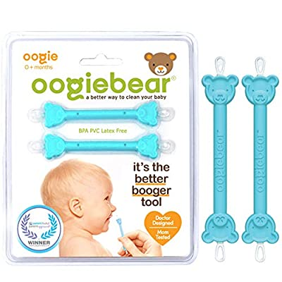 oogiebear - The Safe Baby Nasal Booger and Ear Cleaner - Baby Shower Registry Essential | Easy Baby Nose Cleaner Gadget for Infants and Toddlers | Dual Earwax and Snot Removal, Blue Two Pack