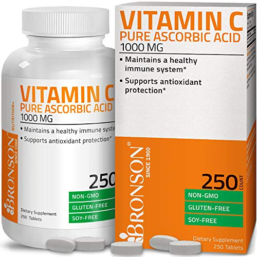 Vitamin C 1000 mg Premium Non-GMO Ascorbic Acid - Maintains Healthy Immune System, Supports Antioxidant Protection - 250 Tablets