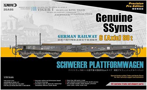German Railway Schwerer Plattformwagen SSyms 6 (Axle) 80t Sabre Model No. 35A05 - maqueta Tren vagon aleman Plataforma para Tanques Pesados Tiger Escala 1:35