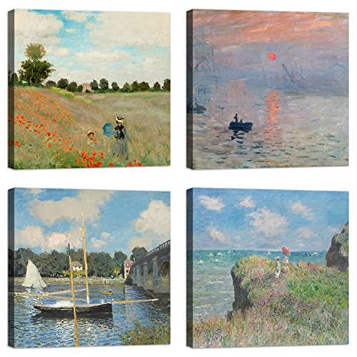 Cuadros Claude Monet 4 piezas 30x30 cm Impresión sobre lienzo con bastidor de madera decoración Arte decoración