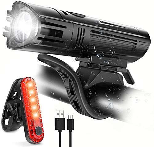 LED Fahrradlicht, STVZO USB wiederaufladbar, 400 Lumen superhell, IPX4 wasserdicht, IP3X Staubdicht Blendschutz, 8 Beleuchtungsarten für alle Fahrräder geeignet
