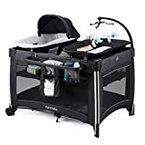 Deluxe Portable Baby Playard with Bassinet,Foldable Nursery Center with Changing Table,Large Capacity Storage Shelf (Black)