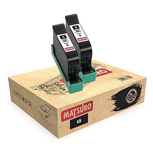 Matsuro Original | Compatible Remanufactured Cartuchos de Tinta Reemplazo para HP 45 (2 Negro)