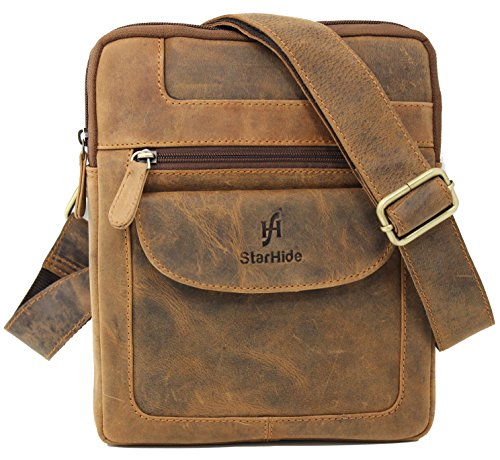 STARHIDE Mens Womens Distressed Hunter Genuine Leather Travel Messenger Crossbody Pouch Bag For Ipad Tablet 505 (Brown)