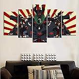FJNS Lienzo 5 Piezas sobre Lienzo la Imagen Pinturas Naruto Akatsuki Poster Pictures decoración para el hogar impresión enmarcada Arte de la Pared decoración,B,20x30x220x40x220x50x1