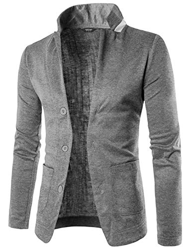 COOFANDY Mens Casual Slim Fit Blazer 3 Button Suit Sport Coat Lightweight Jacket (X-Large, Type 1 Gray)