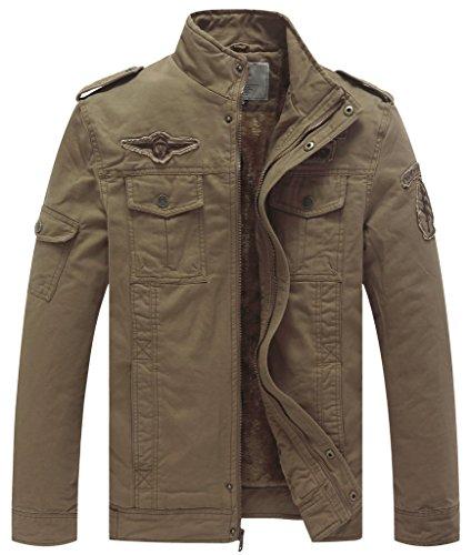 WenVen Parka Calda Spessa da Esterno Overcoat Work Winter Giaccone da Lavoro Jacket Outdoor Casual Uomo Cachi XL