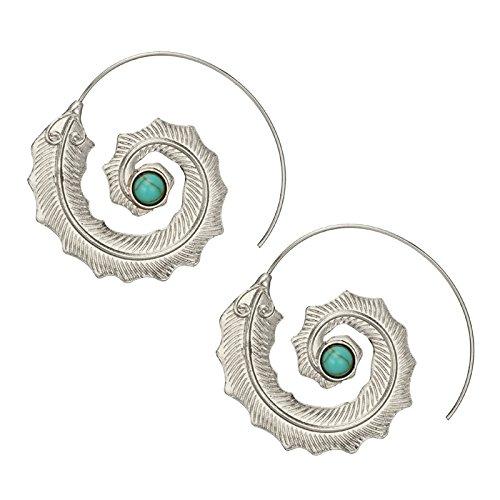 TOOGOO Pendientes de aro turquesa verde con hojas de espiral minimalista de moda Pendientes de punk retro de personalidad para mujer Oro