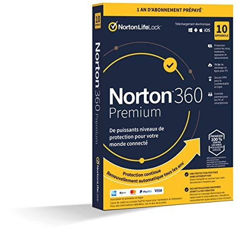 Norton 360 Premium 2021   10 Appareils   Antivirus, Sécurité Internet, Gestion Mots de Passe, Protection Webcam, Contrôle Parental, VPN, 75 GO Stockage Cloud    1 An   PC/Mac/Android/iOS