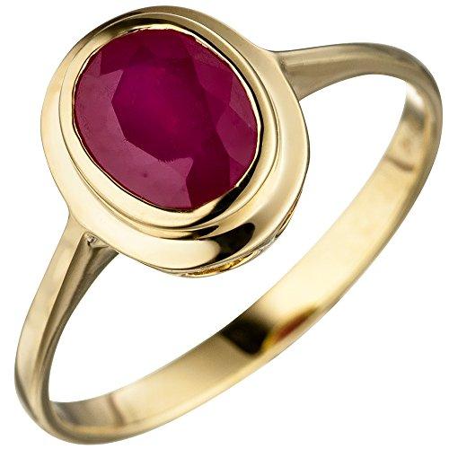 JOBO Damen Ring oval 585 Gold Gelbgold 1 Rubin Goldring Rubinring Größe 58
