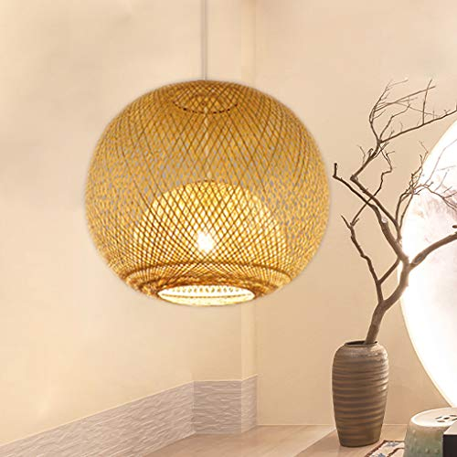 Lámpara colgante de bambú Lámpara colgante redonda de estilo japonés Lámpara colgante de bambú Lámpara colgante tejida de ratán Araña de tejido manual Pantalla E27