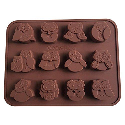 Lot de 12 moules en silicone pour décoration de gâteaux en forme de chouettes