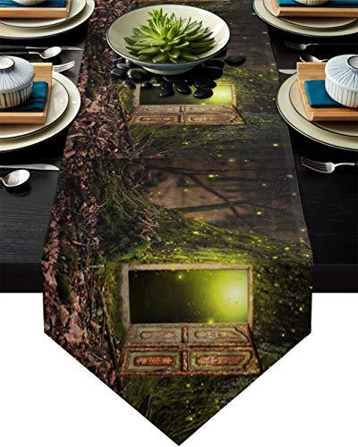 Camino de mesa de arpillera para fiesta/cena, fantasía, polvo, puerta de hierro, Starlight y Forest Mantel, pañuelos, 33 x 177 cm