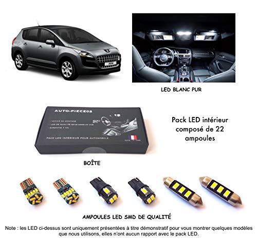 Pack FULL LED intérieur pour 3008 (Kit ampoules blanc pur)