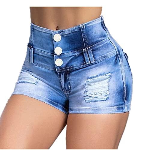 N\P Pantalones cortos de mezclilla de las señoras de verano de cintura alta botón diseño Slim pantalones sexy